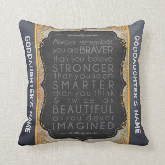Goddaughter Gift Motivational Words Personalized Throw Pillow