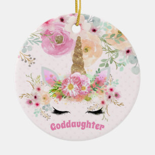 Goddaughter Gift Pink Unicorn Personalized Ceramic Ornament