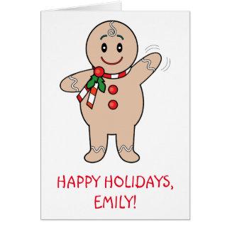 Goddaughter Gingerbread Boy Name Customizable Card