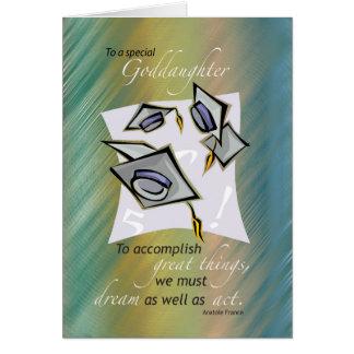 Goddaughter Graduation Hats in Air, Congratulation Card