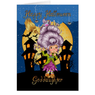 goddaughter halloween card with cute witch