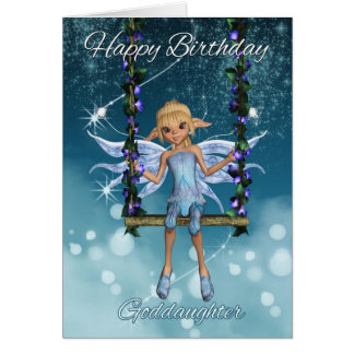Goddaughter Happy Birthday cute fairy on swing Cards