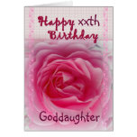 GODDAUGHTER  - Happy xxth Birthday - Pink Rose Card