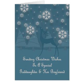 Goddaughter & Her Boyfriend Reindeer Christmas Card