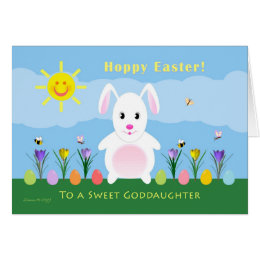 Easter for goddaughters gifts on zazzle goddaughter hoppy easter easter bunny card negle Gallery