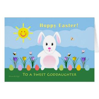 Goddaughter Hoppy Easter - Easter Bunny Greeting Card