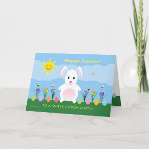 Goddaughter gifts on zazzle goddaughter hoppy easter easter bunny holiday card negle Images