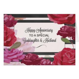 Goddaughter & Husband  Wedding Anniversary Rose Card