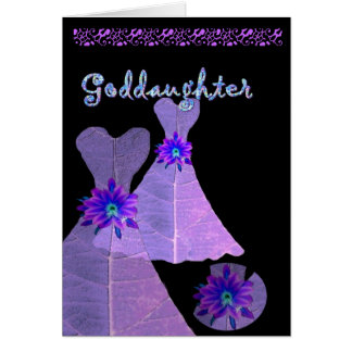 GODDAUGHTER - Junior Bridesmaid  PURPLE Gown Greeting Card