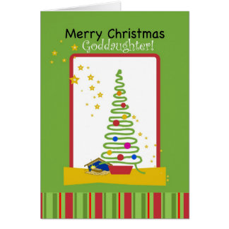 Goddaughter Merry Christmas, Tree and Creche Card