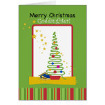Goddaughter Merry Christmas, Tree and Creche Cards