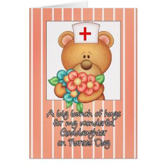 Goddaughter Nurses Day Card With Nurse Teddy Bear