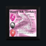"Goddaughter Poem - 16th Birthday Gift Box<br><div class=""desc"">A great gift for a goddaughter on her 16th birthday</div>"