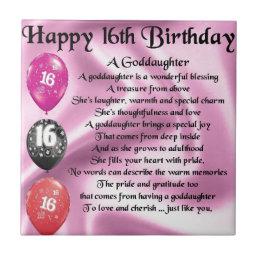 Goddaughter Poem - 16th Birthday Tile