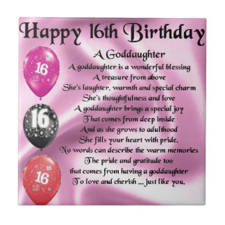 Goddaughter Poem - 16th Birthday Small Square Tile