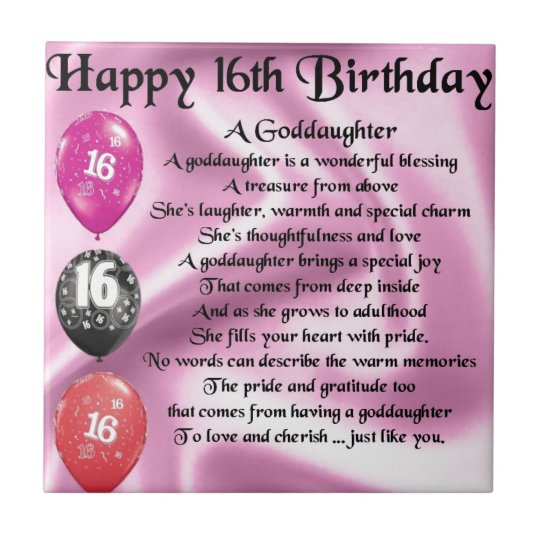 Goddaughter Poem - 16th Birthday Tile