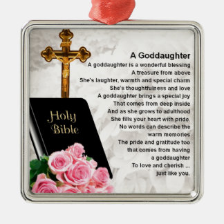 Goddaughter Poem - Bible & Flowers Design Metal Ornament