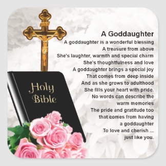 Goddaughter Poem - Bible & Flowers Design Square Sticker