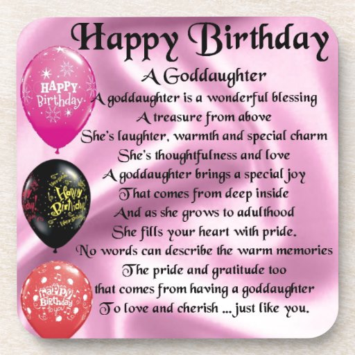Birthday Quotes Goddaughter: Goddaughter Poem - Happy Birthday Drink Coaster
