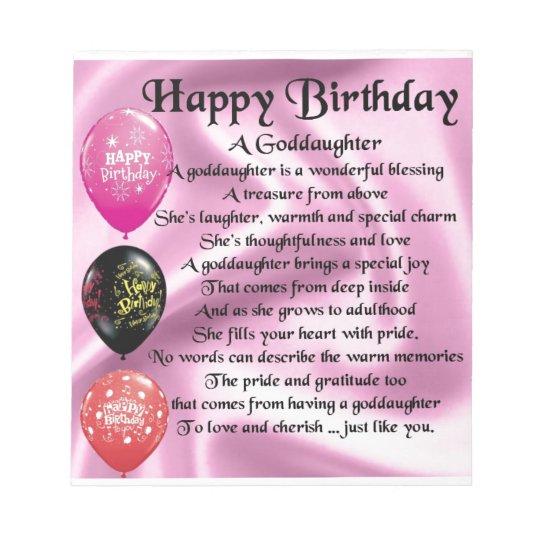 Goddaughter Poem - Happy Birthday Notepad