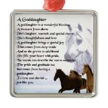 Goddaughter Poem - Horses Design Metal Ornament