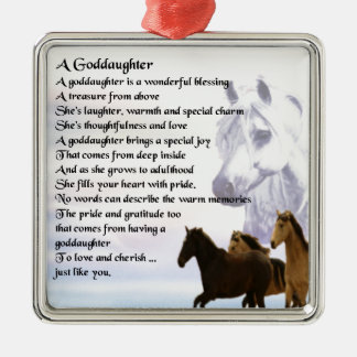 Goddaughter Poem - Horses Design Metal Ornament