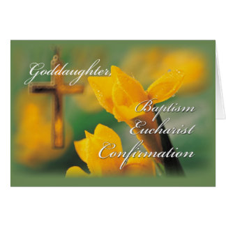 Goddaughter RCIA Cross Crocus Congratulations Card
