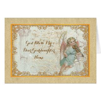 Goddaughter Vintage Art Angel Personalized Card