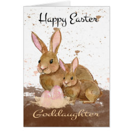 Easter for goddaughters gifts on zazzle goddaughter watercolor bunny rabbits and easter e card negle Gallery