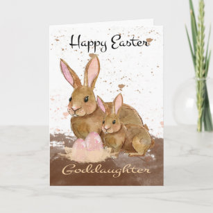 Easter for goddaughters gifts on zazzle goddaughter watercolor bunny rabbits and easter e holiday card negle Gallery