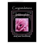 GODDAUGHTER Wedding Congratulations - Pink Rose Greeting Card