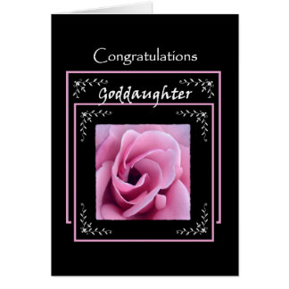 GODDAUGHTER Wedding Congratulations  Pink Rose Greeting Card
