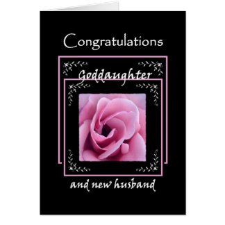 GODDAUGHTER Wedding Congratulations - Pink Rose Greeting Card