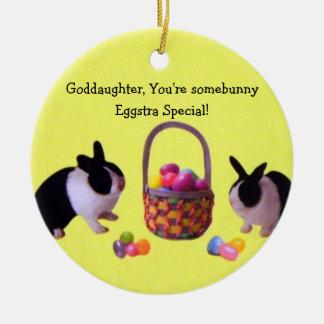 Goddaughter, You're somebunny eggstra special! Ceramic Ornament