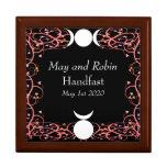 Goddess and God Wiccan Handfasting Golden Oak Box Jewelry Box
