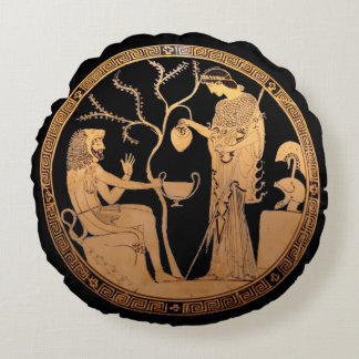 Goddess Athena and Heracles Round Pillow