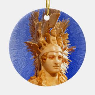 Goddess Athina Double-Sided Ceramic Round Christmas Ornament