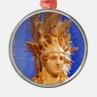 Goddess Athina Round Metal Christmas Ornament