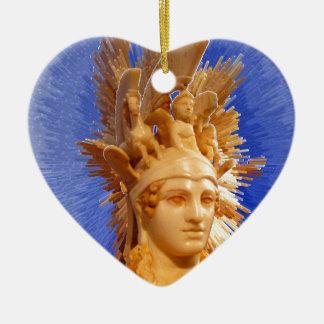Goddess Athina Double-Sided Heart Ceramic Christmas Ornament