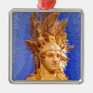Goddess Athina Square Metal Christmas Ornament