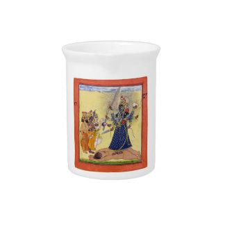 Goddess Bhadrakali Worshipped by the Gods 1675 Beverage Pitcher