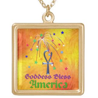 Goddess Bless America Square Pendant Necklace
