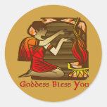 Goddess Bless You Round Sticker