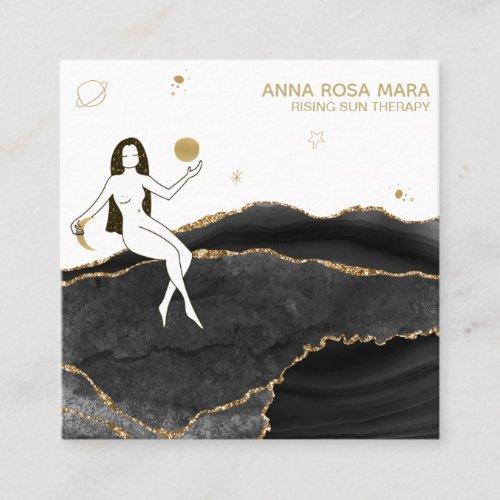 Goddess Celestial Black Agate Gold Glitter Square Business Card
