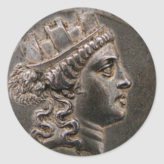 Goddess Cybele Tetradrachm Classic Round Sticker