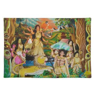 Goddess Durga at Durga festival in Burdwan Placemat
