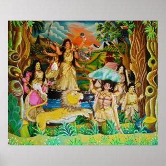 Goddess Durga at Durga festival in Burdwan Poster