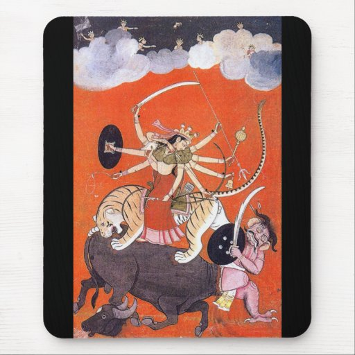 Goddess Durga fighting Mahishasura Mouse Pad
