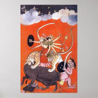 Goddess Durga fighting Mahishasura Posters