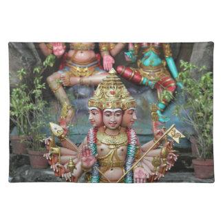 Goddess Durga with Three heads Hindu temple Cloth Placemat